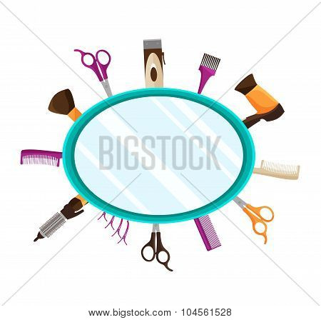 Hairdressing Tools flat mirror background
