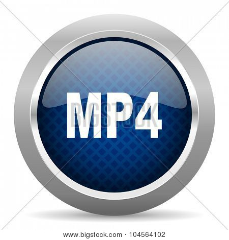 mp4 blue circle glossy web icon on white background, round button for internet and mobile app