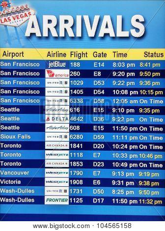 Arrival Display Board At Airport Terminal