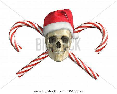 Christmas Skull With Cross Canes