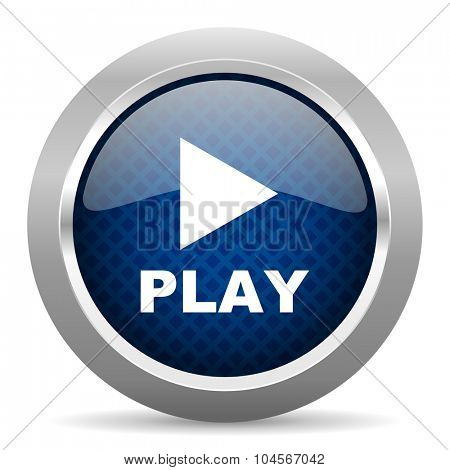 play blue circle glossy web icon on white background, round button for internet and mobile app
