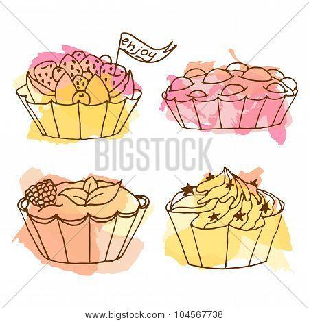 Tarts Vector Illustration. Doodle Cakes With Splash Background. Outline Desserts Set.