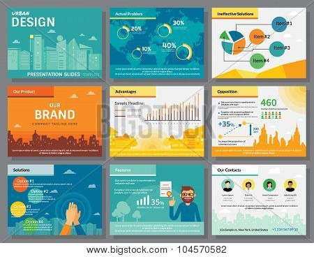 Urban design of infographics presentation slides template