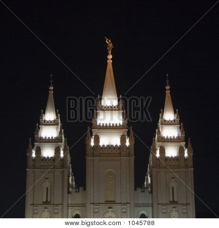 Salt Lake Temple East Spires From East At Night