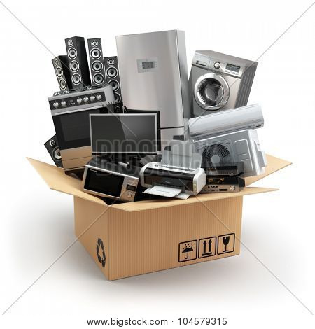 Delivery or moving concept. Home appliance in box. Fridge, washing machine, tv printer, microvawe oven, air conditioneer and loudspeakers. 3d