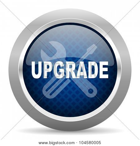upgrade blue circle glossy web icon on white background, round button for internet and mobile app poster