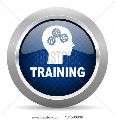 training blue circle glossy web icon on white background, round button for internet and mobile app