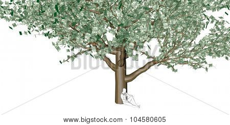 Money Tree with US Dollars Leaves Growing Above