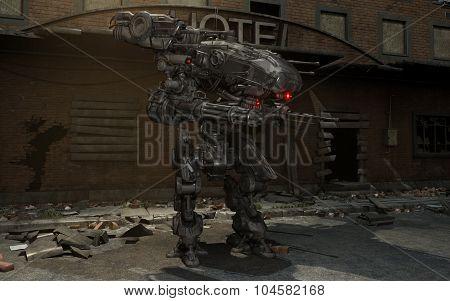 Futuristic robot mech