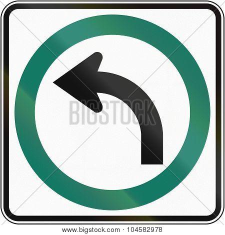 Regulatory road sign in Quebec Canada - Turn left. poster