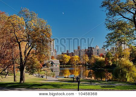 Reflexions on Harlem Meer in Central Park, New York City poster