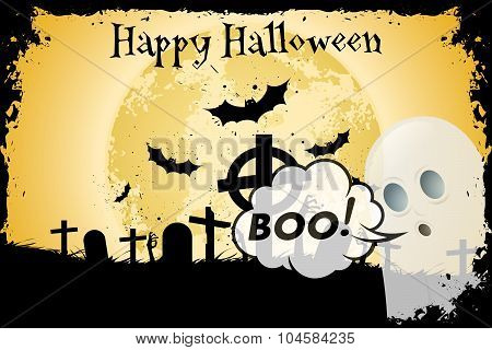 Grungy Halloween Background with Bats Ghost and Graveyard