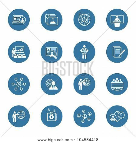 Business And Finances Icons Set. Flat Design.