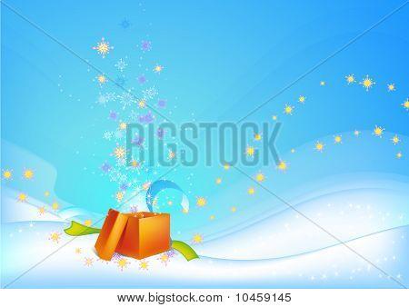 Christmas Background With Orange Gift
