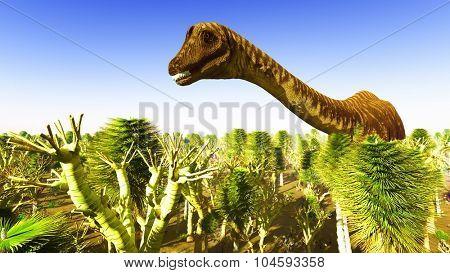 Prehistoric landscape with big diplodoc poster