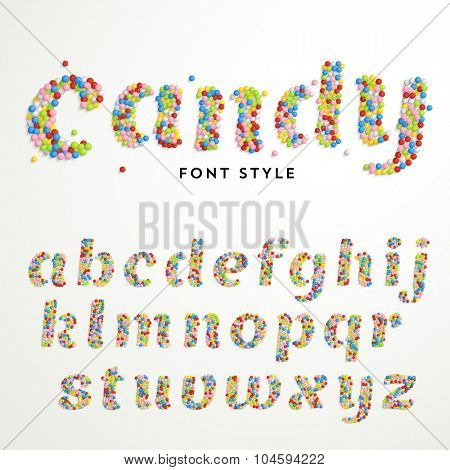 Vector font style made of hundreds of decorative candy balls. Latin alphabet from A to Z.