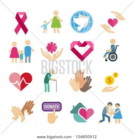 Charity flat icons set. Charity vector logo icons. Charity silhouette isolated. Charity, abstract hands logo, heart logo, old people care, child logo, care logo, togetherness concept, family logo