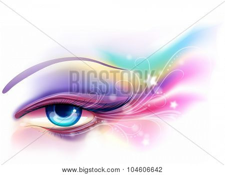 Colorful and Whimsical Illustration of Eye Makeup - eps10