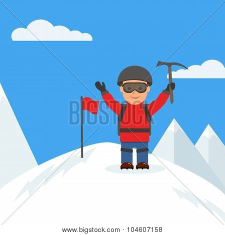 Happy climber reached the summit of the mountain poster