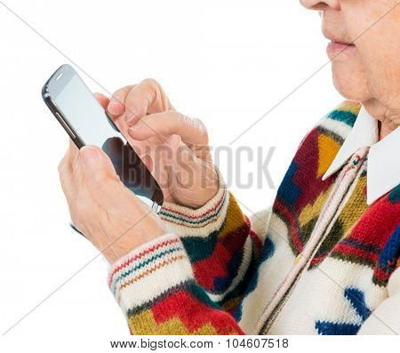elderly woman using smartphone close-up