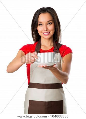 Coffee Serving Waitress. Young Asian Barista Woman Smiling Showing Cup Of Coffee. Isolated On White
