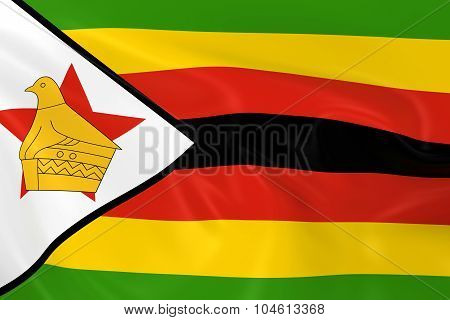 Waving Flag Of Zimbabwe - 3D Render Of The Zimbabwean Flag With Silky Texture