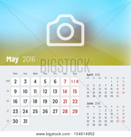 May 2016. Desk Calendar For 2016 Year. Vector Design Print Template With Place For Photo. Week Start