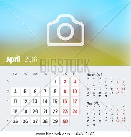April 2016. Desk Calendar For 2016 Year. Vector Design Print Template With Place For Photo. Week Sta