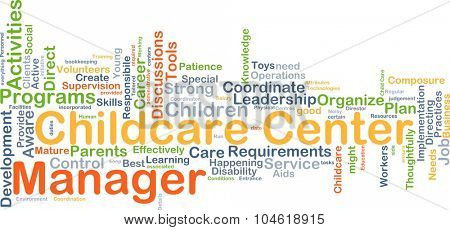 Background concept wordcloud illustration of childcare center manager poster