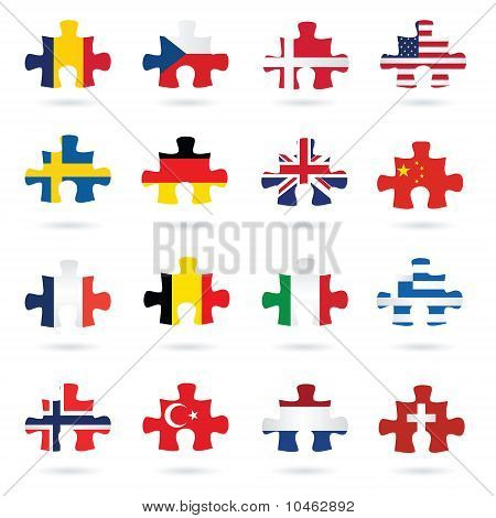 jigsaw puzzle pieces as flags