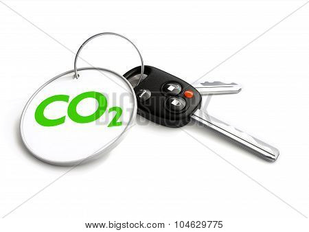 Car Keys With Co2 Carbon Emissions Symbol On Key Ring