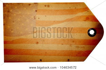 Blank rustic American flag beige gift tag isolated on a white background with clipping path