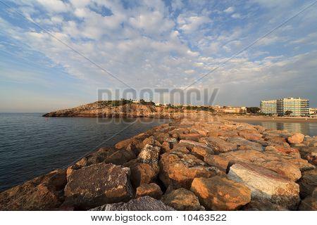 Pier In La Pineda At Dawn