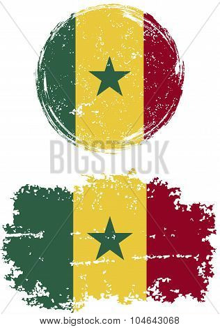 Senegalese round and square grunge flags. Vector illustration.