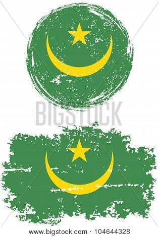 Mauritanian round and square grunge flags. Vector illustration.