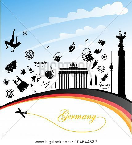 Germany Background With Flag And Symbol