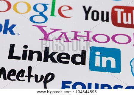 KIEV, UKRAINE - OKTOBER 03, 2015: Collection of inscriptions, symbols of popular social media: Youhoo, Google, Linkedin, Facebook, YouTube and others printed on paper. Selective focus poster
