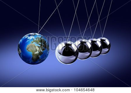 The pendulum of Newton as the Earth symbolizing the risk, dynamics, fragility, etc.
