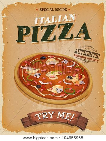 Grunge And Vintage Pizzeria Poster