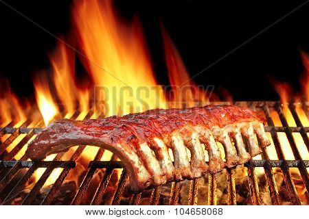 Baby Back Or Pork Spareribs On The Hot Flaming Grill