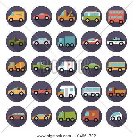 Automobiles Flat Design Vector Icons Collection. Set of 25 cars, vans and other motor vehicles icons in circles, flat design, long shadow