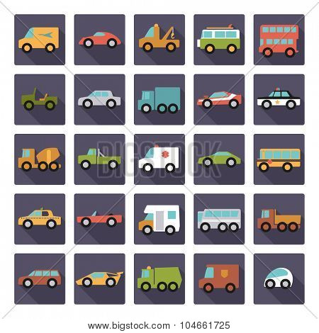 Automobiles Flat Design Vector Icons Collection. Set of 25 cars, vans and other motor vehicles icons in rounded squares, flat design, long shadow