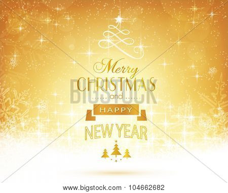 Abstract festive background with out of focus light dots, stars, snowflakes and sparkling light effects and the lettering Merry Christmas and Happy New Year