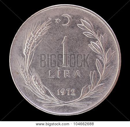 One Old Turkish Lira Coin, 1972