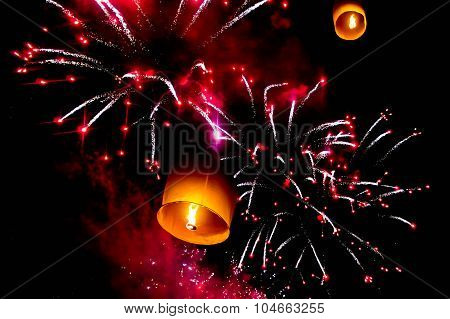 Sky Lantern And Firecrackers Or Fireworks