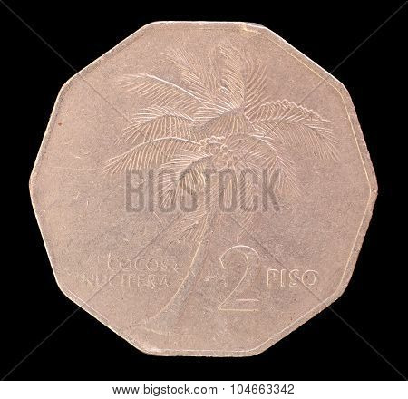 Tail Of A 2 Piso Coin, Issued By Republic Of The Philippines In 1986 Depicting A Coconut Palm