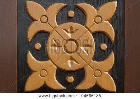 Decorative Wooden Panel With Abstract Woodcarving Ornament