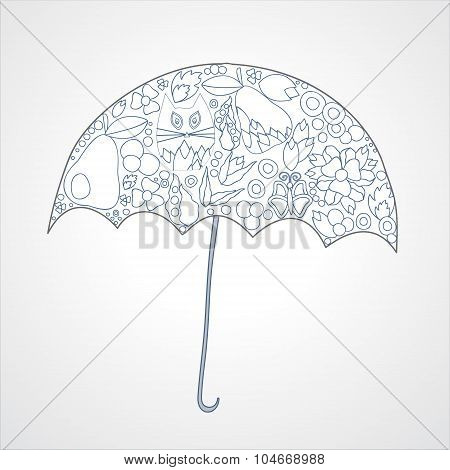 Autumn Background. Isolated Art Umbrella. Stock Vector Illustration