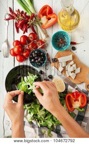 Vegetarian Low Calorie Greek Salad Preparation Top View