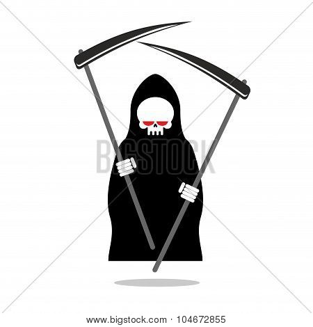 Death With Two Scythe. Ferocious Grim Reaper With Red Eyes. Skeleton In Hood Black Cloak. Illustrati